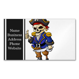 dibujo animado del esqueleto del pirata tarjetas de visita magnéticas