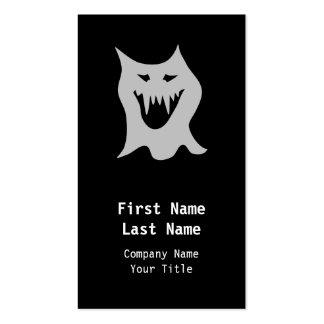 Dibujo animado del fantasma del monstruo en gris tarjetas de visita