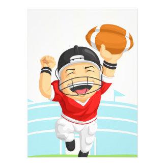 Dibujo animado del futbolista feliz anuncio personalizado