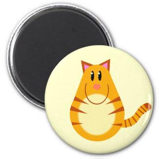 Dibujo animado del gato de Tabby Imán Redondo 5 Cm