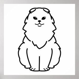 Dibujo animado del gato del doblez de la montaña póster
