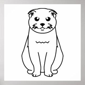 Dibujo animado del gato del doblez del escocés impresiones