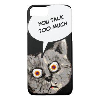 dibujo animado del gato, usted habla demasiado funda iPhone 7