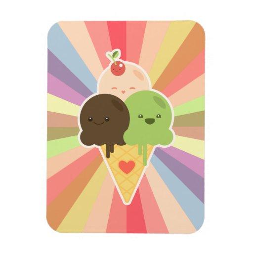 Dibujo animado del helado de Kawaii Imán Flexible | Zazzle