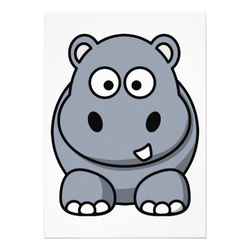 Dibujo animado del hipopótamo comunicados personalizados de Zazzle.