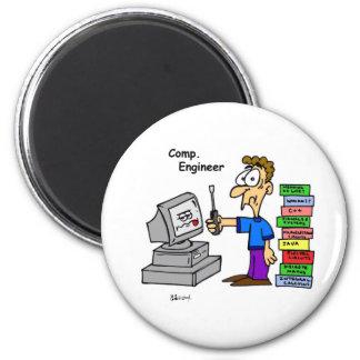 Dibujo animado del ingeniero informático imán redondo 5 cm