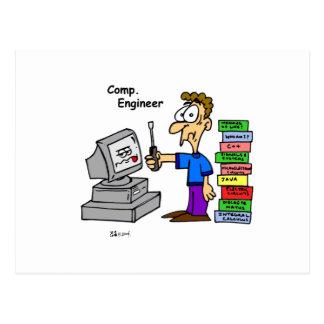 Dibujo animado del ingeniero informático postal