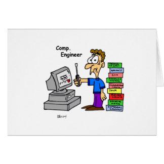 Dibujo animado del ingeniero informático tarjeta de felicitación