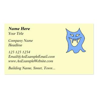 Dibujo animado del monstruo en azul tarjetas de visita