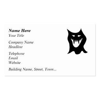 Dibujo animado del monstruo, negro tarjetas de visita