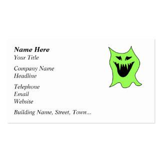 Dibujo animado del monstruo. Verde y negro Tarjetas De Visita
