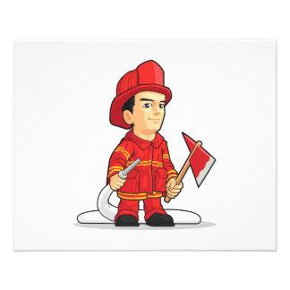 Dibujo animado del muchacho del bombero folleto 11,4 x 14,2 cm