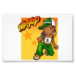 dibujo animado del naranja del verde del chica del arte fotográfico