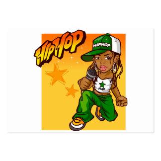 dibujo animado del naranja del verde del chica del tarjetas de visita grandes