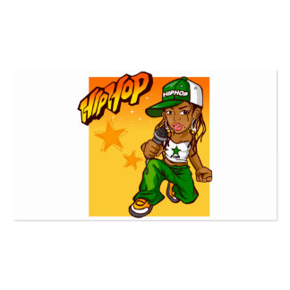 dibujo animado del naranja del verde del chica del tarjetas de visita