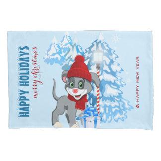 Dibujo animado del navidad del perrito de la nariz funda de cojín