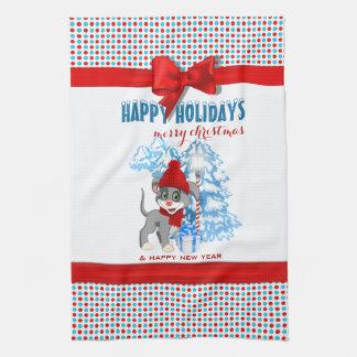 Dibujo animado del navidad del perrito de la nariz paño de cocina
