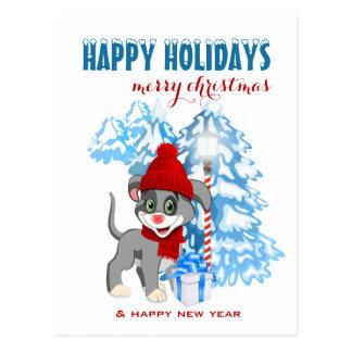 Dibujo animado del navidad del perrito de la nariz postal