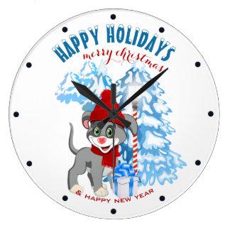 Dibujo animado del navidad del perrito de la nariz reloj redondo grande