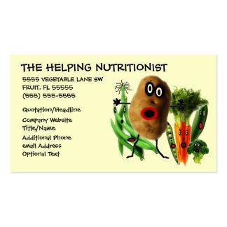 Dibujo animado del nutricionista tarjetas de visita