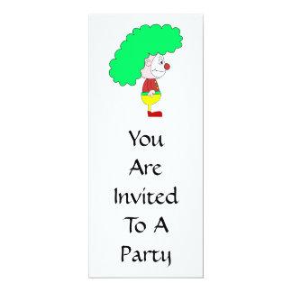 Dibujo animado del payaso. Amarillo, rojo y verde Invitaciones Personalizada