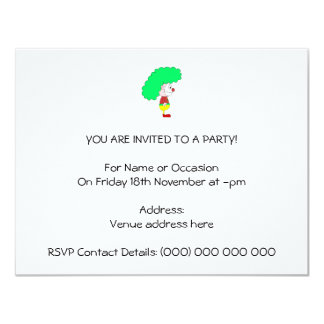 Dibujo animado del payaso. Amarillo, rojo y verde Invitación 10,8 X 13,9 Cm