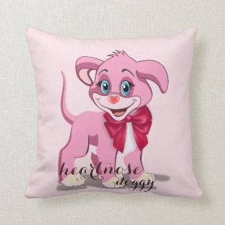 Dibujo animado del perrito del rosa de la nariz cojín decorativo