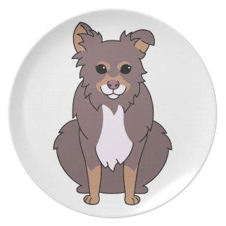 Dibujo animado del perro de Borssie Plato De Comida