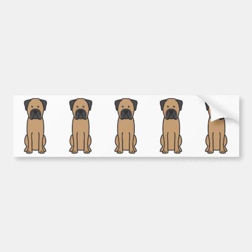 Dibujo animado del perro de Bullmastiff Etiqueta De Parachoque