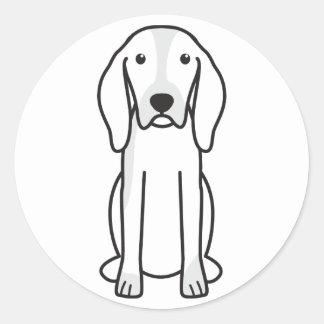Dibujo animado del perro de caza de Artois Etiqueta Redonda