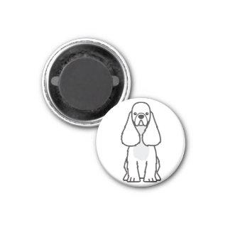 Dibujo animado del perro de cocker spaniel del ame imán redondo 3 cm