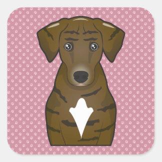 Dibujo animado del perro de Plott Calcomania Cuadradas Personalizadas
