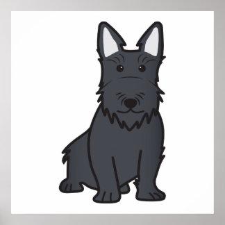 Dibujo animado del perro de Terrier del escocés Póster