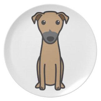 Dibujo animado del perro del canguro plato