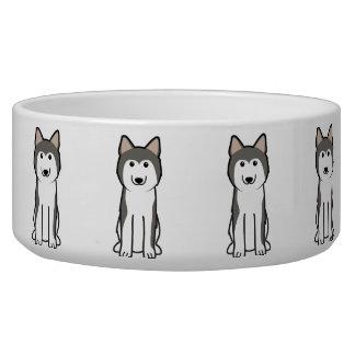 Dibujo animado del perro del husky siberiano comedero