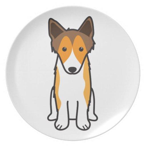 Dibujo animado del perro del perro pastor de Shetl Plato De Cena