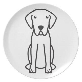 Dibujo animado del perro del perro perdiguero de b plato de cena