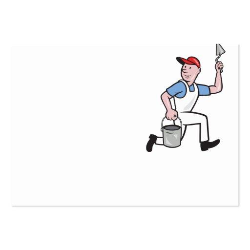 Dibujo animado del trabajador de la albañilería de tarjeta de visita