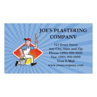 Dibujo animado del trabajador de la albañilería de plantillas de tarjetas de visita