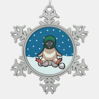 Dibujo animado divertido de la bola de nieve del adorno de peltre en forma de copo de nieve