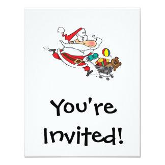 dibujo animado divertido de santa que hace compras invitación 10,8 x 13,9 cm