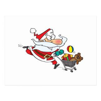 dibujo animado divertido de santa que hace compras postal