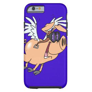 dibujo animado divertido del aviador del cerdo del funda de iPhone 6 tough
