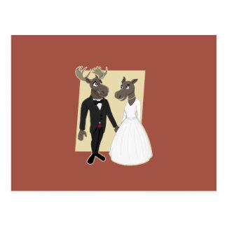 Dibujo animado divertido del boda de los alces postal