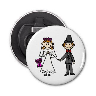 Dibujo animado divertido del boda de novia y del abrebotellas redondo