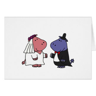 Dibujo animado divertido del boda de novia y del tarjeta