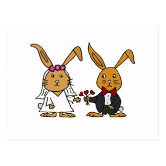 Dibujo animado divertido del boda del conejo de postal