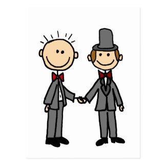 Dibujo animado divertido del matrimonio homosexual postal