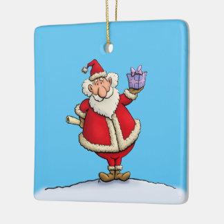 dibujo animado divertido del navidad de la entrega adorno navideño cuadrado de cerámica