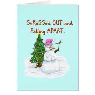 Dibujo animado divertido del navidad del muñeco de tarjeta de felicitación